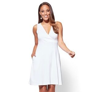 NWT NY&Co V-Neck Fit and Flare Dress in White
